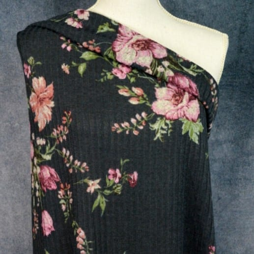 Ribbed Sweater Knit, Floral on Charcoal - 1/2 meter
