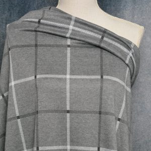 Double Knit Jacquard, GREY Window Pane Plaid - 1/2 meter