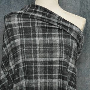 Hacci Brushed Sweater Knit, Dark Grey Plaid - 1/2 meter