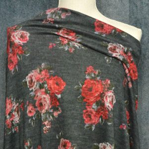 Hacci Brushed Sweater Knit, Red Floral on CHARCOAL - 1/2 meter