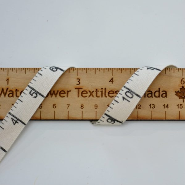 "Cotton 5/8"" (15mm) Horizontal, Measuring Twill Tape, Natural - 1 meter"