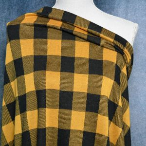 Double Knit Jacquard, INCA GOLD Buffalo Plaid - 1/2 meter