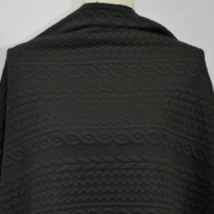 Cable Jacquard Knit, Black - 1/2 meter