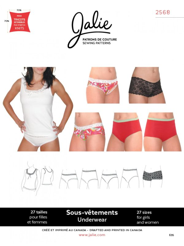 Jalie Paper Pattern 2568, Camisole and Choice of Panties