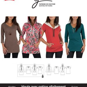 Jalie Paper Pattern 3132, Nursing and Regular Tees and Tunics