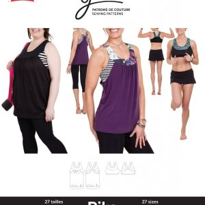Jalie Paper Pattern 3679, Pika Sport Bra and Layered Blouson Tank