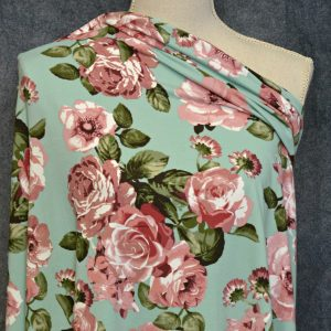 Kimberely Double Brushed Poly, Rose on MINT - 1/2 meter