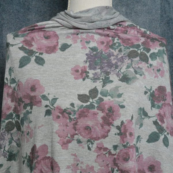 French Terry Floral, Knottingley Rose on Heather Grey - 1/2 meter