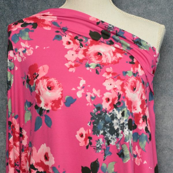 Knottingley Brushed Poly Spandex, Rose on BRIGHT BERRY - 1/2 meter