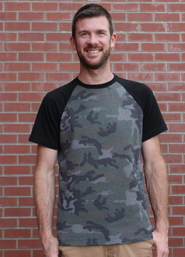 Waffle Knit, Camo - 1/2 meter