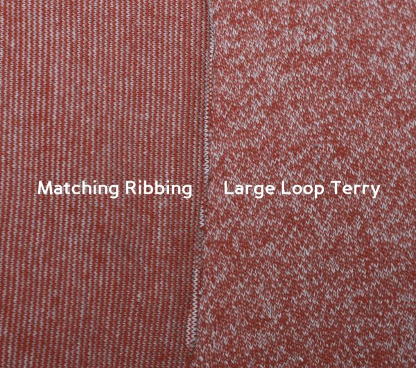 RIBBING for Large Loop Terry, Marled Burnt Orange - 1/2 meter