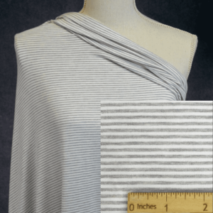 Bamboo Organic Cotton Jersey 2mm Stripes, LT GREY MIX/White - 1/2 meter