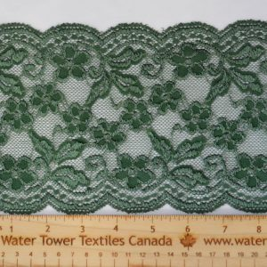 "Stretch Lace Trim, 5.5"" Green - 1 meter"
