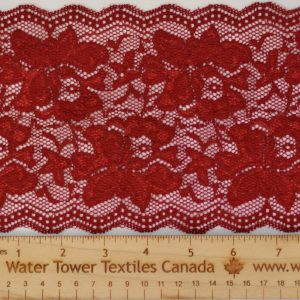 "Stretch Lace Trim, 5.5"" Maroon - 1 meter"
