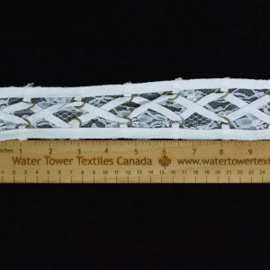 "Lace-Up Lace Trim, 2.37"" White - 1 Meter"