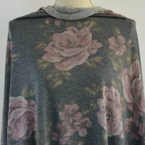 French Terry Floral, Large Roses on MIDNIGHT - 1/2 meter