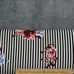 Liverpool Floral, Bouquet on Black/White Stripes- 1/2 meter