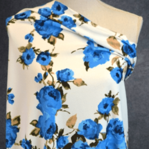 Liverpool, Darlington Cobalt Floral on Ivory - 1/2 meter