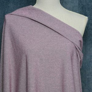 Lurex Knit Fabric, Silver/ROSE - 1/2 meter