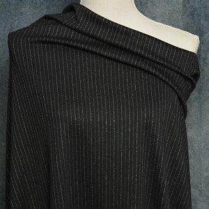 Double Knit Jacquard, Lurex Pinstripe on BLACK - 1/2 meter