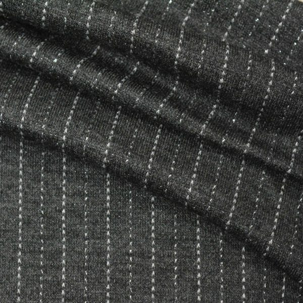 Double Knit Jacquard, Lurex Pinstripe on CHARCOAL - 1/2 meter