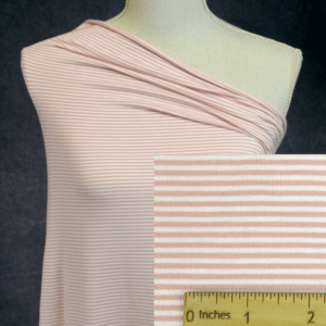 Bamboo Organic Cotton Jersey 2mm Stripes, MELLOW ROSE/White - 1/2 meter