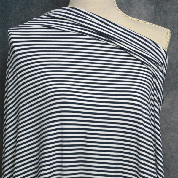 Bamboo Cotton Jersey 4mm Stripes, Navy/White - 1/2 meter