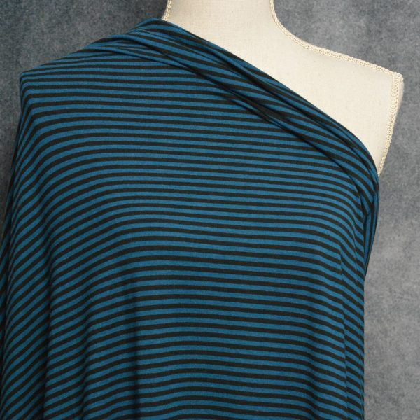Bamboo Cotton Jersey 4mm Stripes, Moroccan/Black - 1/2 meter