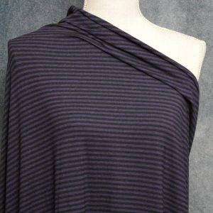 Bamboo Cotton Jersey 4mm Stripes, Plum/Black - 1/2 meter