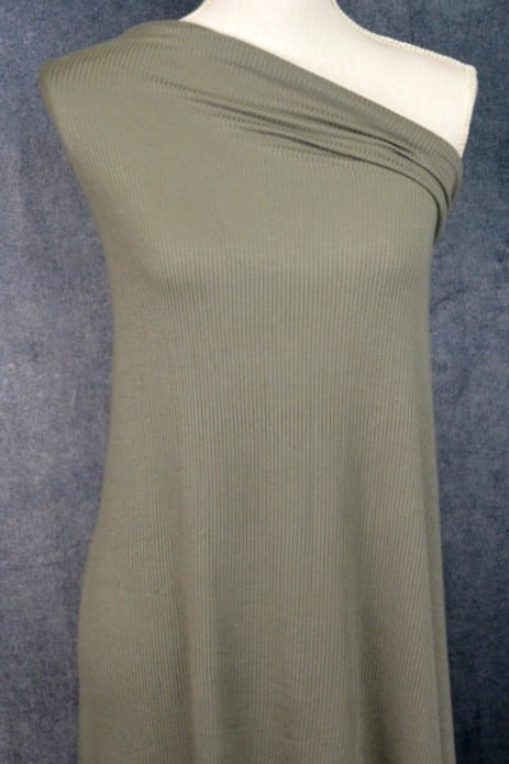 Modal Rib Knit Jersey, Olive - 1/2 meter