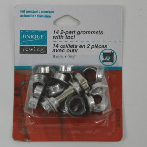 Grommets 8mm with Tool, Gunmetal - Pkg of 14