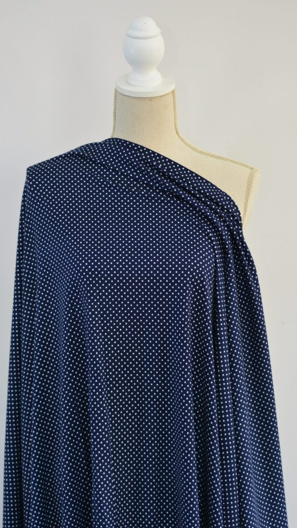Mini Dots, Double Brushed Poly Spandex, on Navy - 1/2 meter