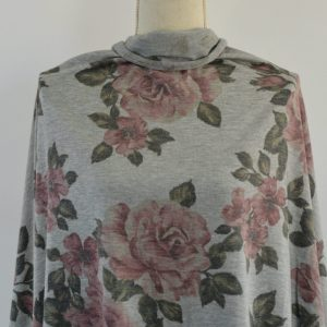 French Terry Floral, Large Roses on HEATHER GREY - 1/2 meter