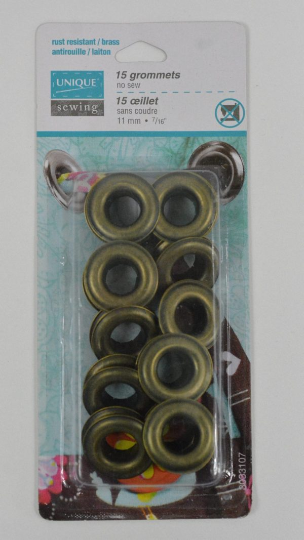 Grommets 11mm (wide - old style), Antique Gold - Pkg of 15