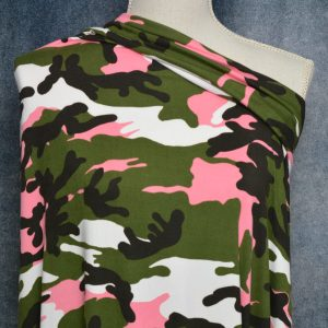 Double Brushed Polyester Spandex, GREEN/SORBET Camo - 1/2 meter