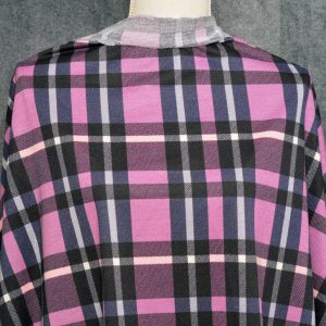 French Terry, Orchid/Navy Plaid - 1/2 meter