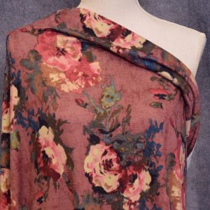Hacci Brushed Sweater Knit, Painted Floral - 1/2 meter