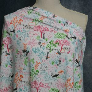 Organic Cotton Spandex, PINK/Green Crayon Drawings - 1/2 meter