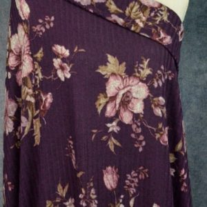 Ribbed Sweater Knit, Floral on Plum - 1/2 meter