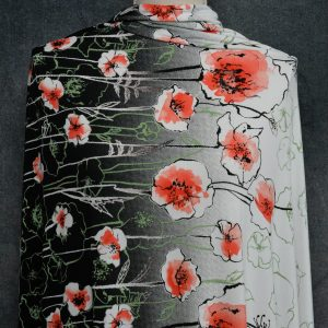 Polyester Spandex, Poppies Border Print - 1/2 meter