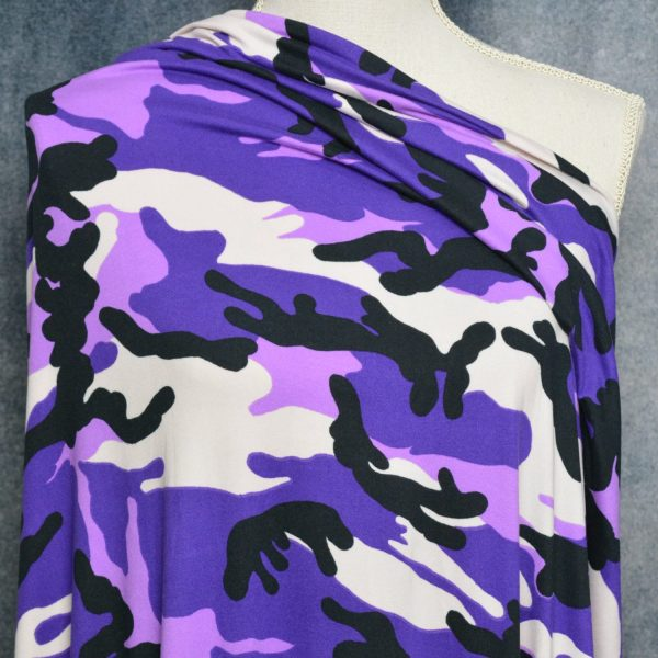 Double Brushed Polyester Spandex, PURPLE Camo - 1/2 meter