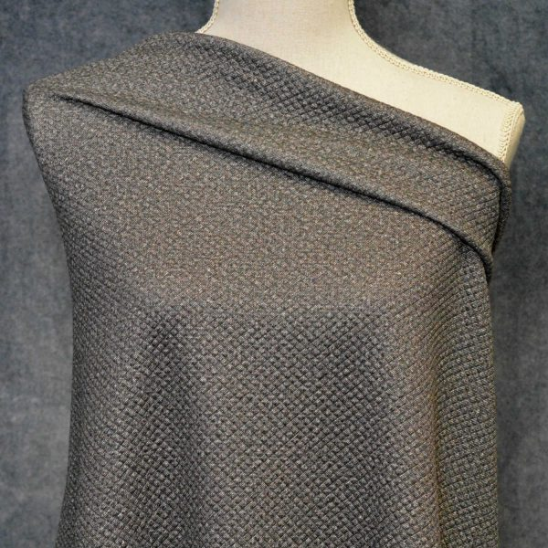 Quilted Stretch Knit, Mini Diamonds, Iced Coffee - 1/2 meter