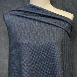 Quilted Stretch Knit, Mini Diamonds, Navy Mix - 1/2 meter