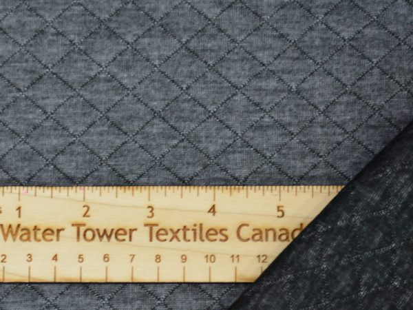 Quilted Stretch Knit, Small Diamonds, Dark Grey/Black - 1/2 meter