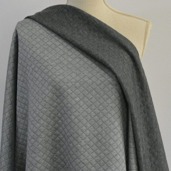 Quilted Stretch Knit, Small Diamonds, Light Grey/Dark Grey - 1/2 meter