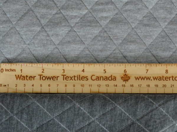 Quilted Stretch Knit, Large Diamonds, Light Grey/Dark Grey - 1/2 meter