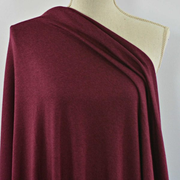 Rayon Cotton Modal Sweater Knit, Red Mahogany- 1/2 meter
