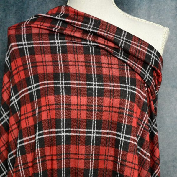 Double Knit Jacquard, RED/BLACK Tartan Plaid - 1/2 meter