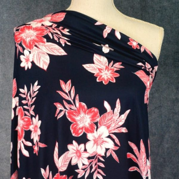 DBP Red Black Tropical Floral - 1/2 meter