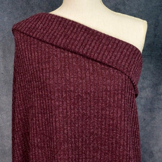 Sparkly Ribbed Sweater Knit, Burgundy - 1/2 meter
